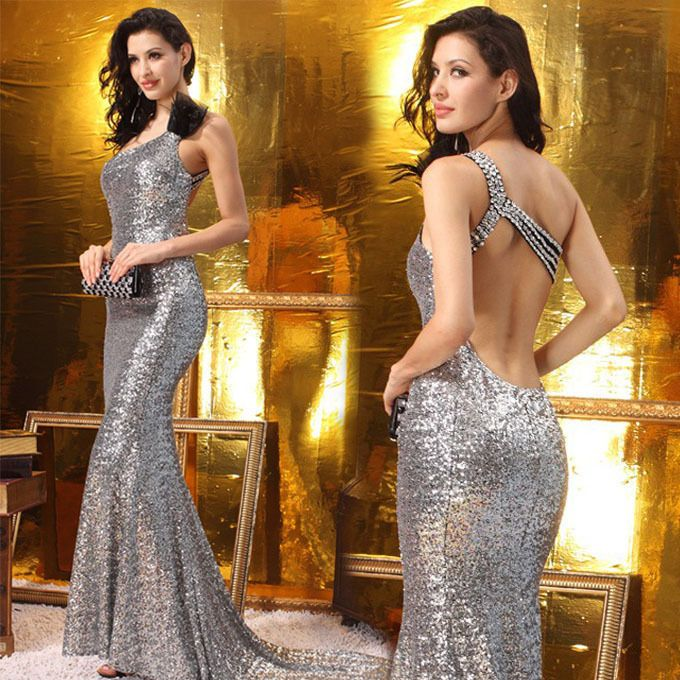 Sexy Woman Evening Party Prom Formal Gown Wedding Bride Sparkle Dress S-L 9889 #coolyaya #WigglePencil #Formal