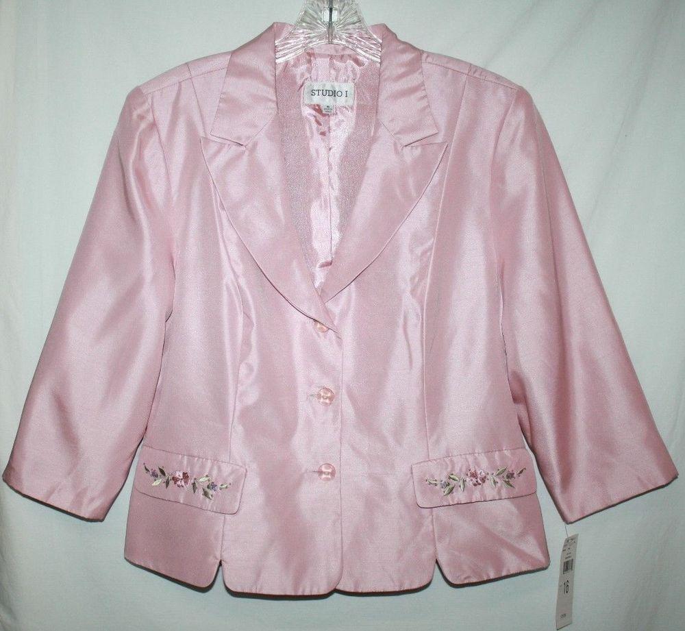 Studio I Womens 16 Jacket Career Blazer Pink Shantung