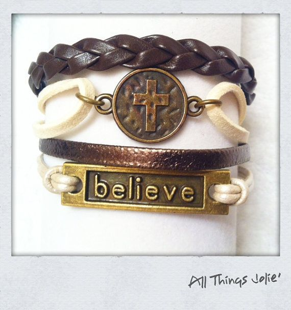 New Bronze Leather/Cotton Cord  with Cross by AllThingsJolie78