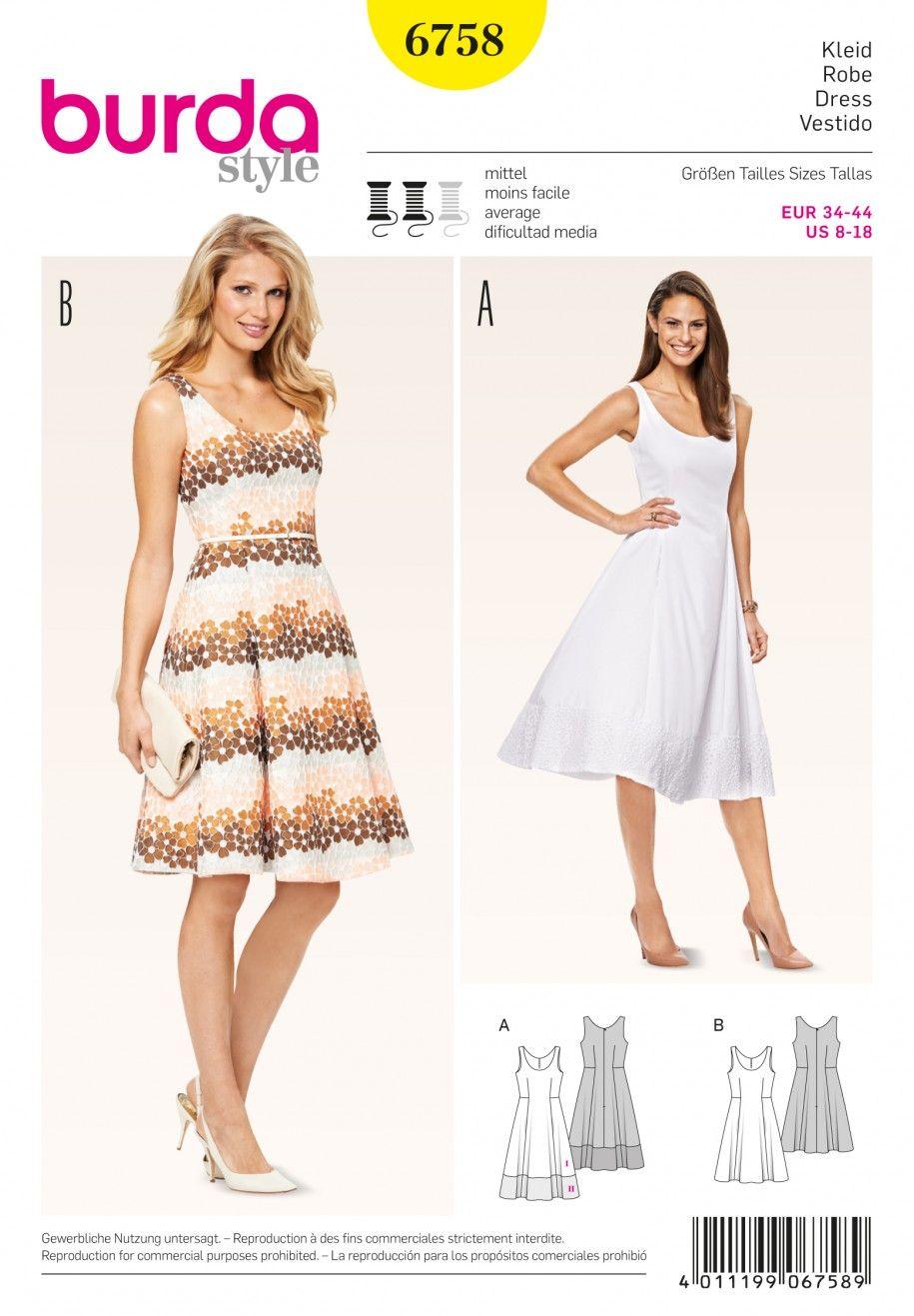 Burda B6758 Dresses Sewing Pattern | Kleider