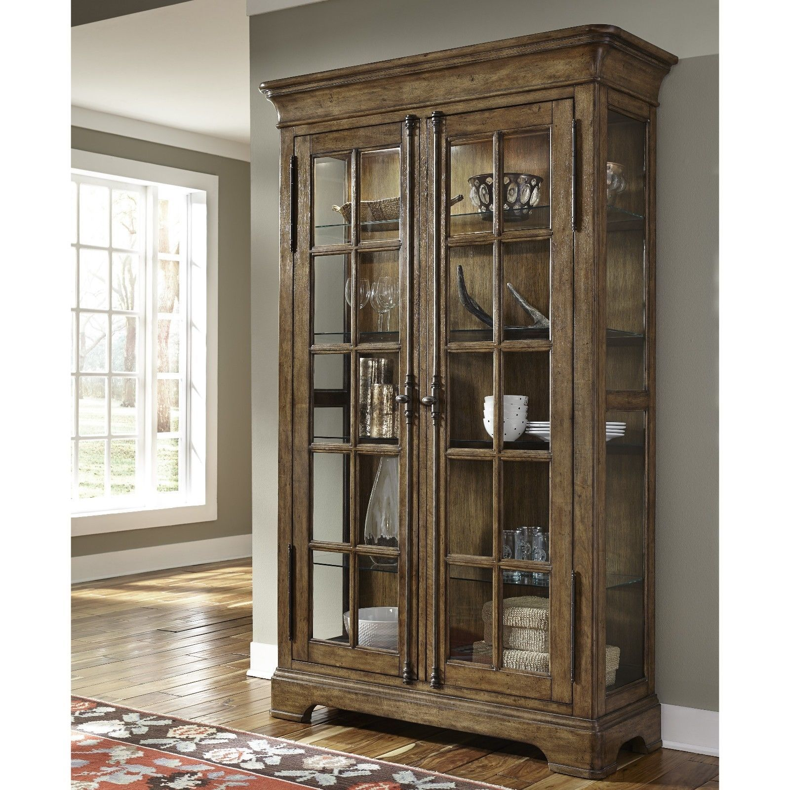 Lighted curio lighted curio case curio storage case display cabinet rustic furniture china cabinet trophy display