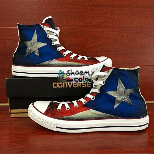 the best attitude 8660f 753b1 High Top Puerto Rico Flag Converse Shoes Hand Painted Canvas Sneakers