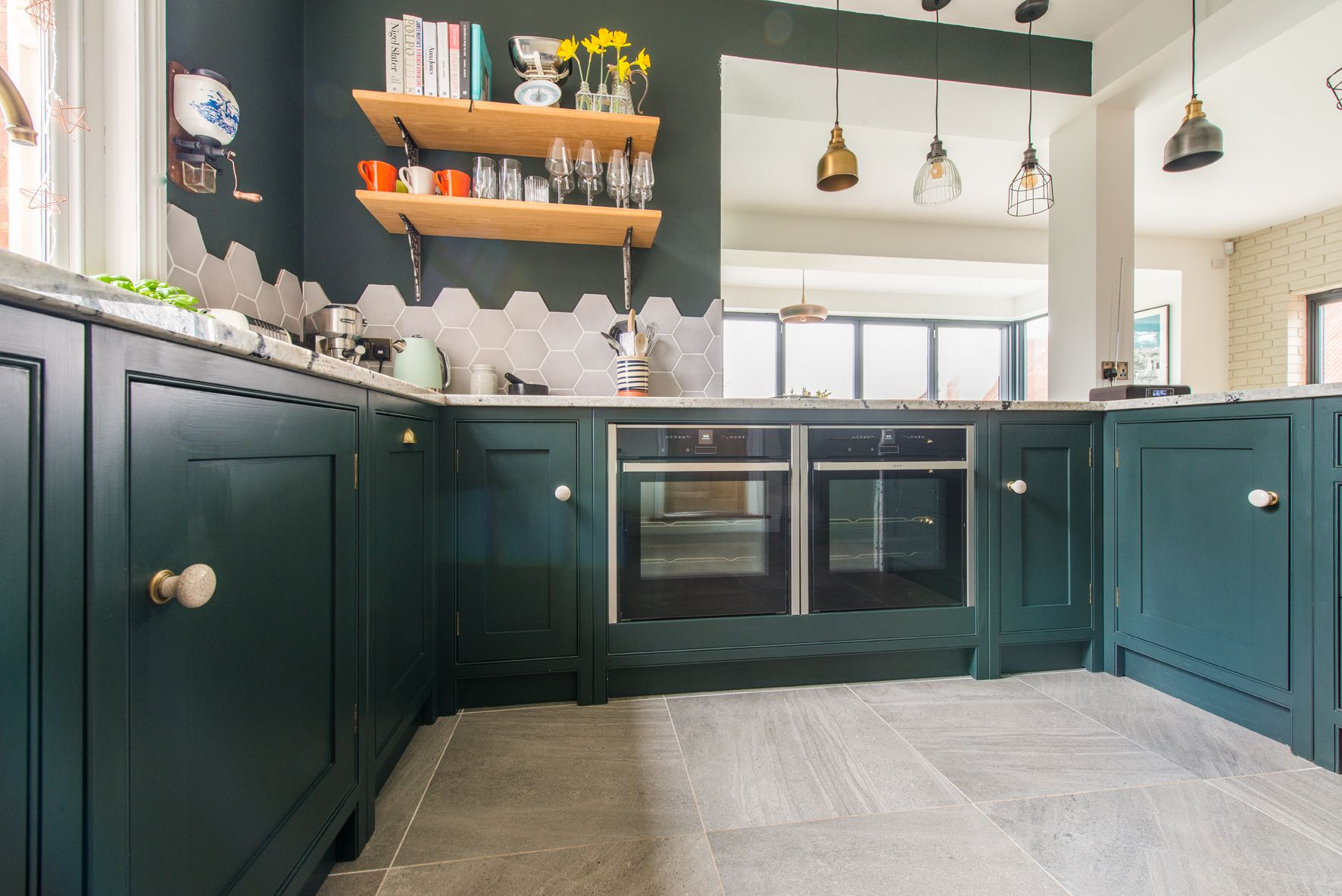 Farrow Ball Studio Green And Green Smoke Painted Bespoke Kitchen Made In Kent Finished With Brass Handles Bespoke Kitchens Kitchen Farrow And Ball Kitchen