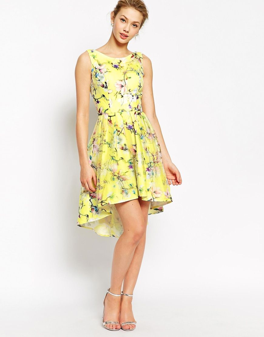 Image 4 of Chi Chi London Full Prom High Low Skater Dress In Floral ...