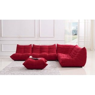 It S Like Having A Coach Made Of Bean Bag Chairs But Way Nicer Bloom Red Fabric Sectional Sofa