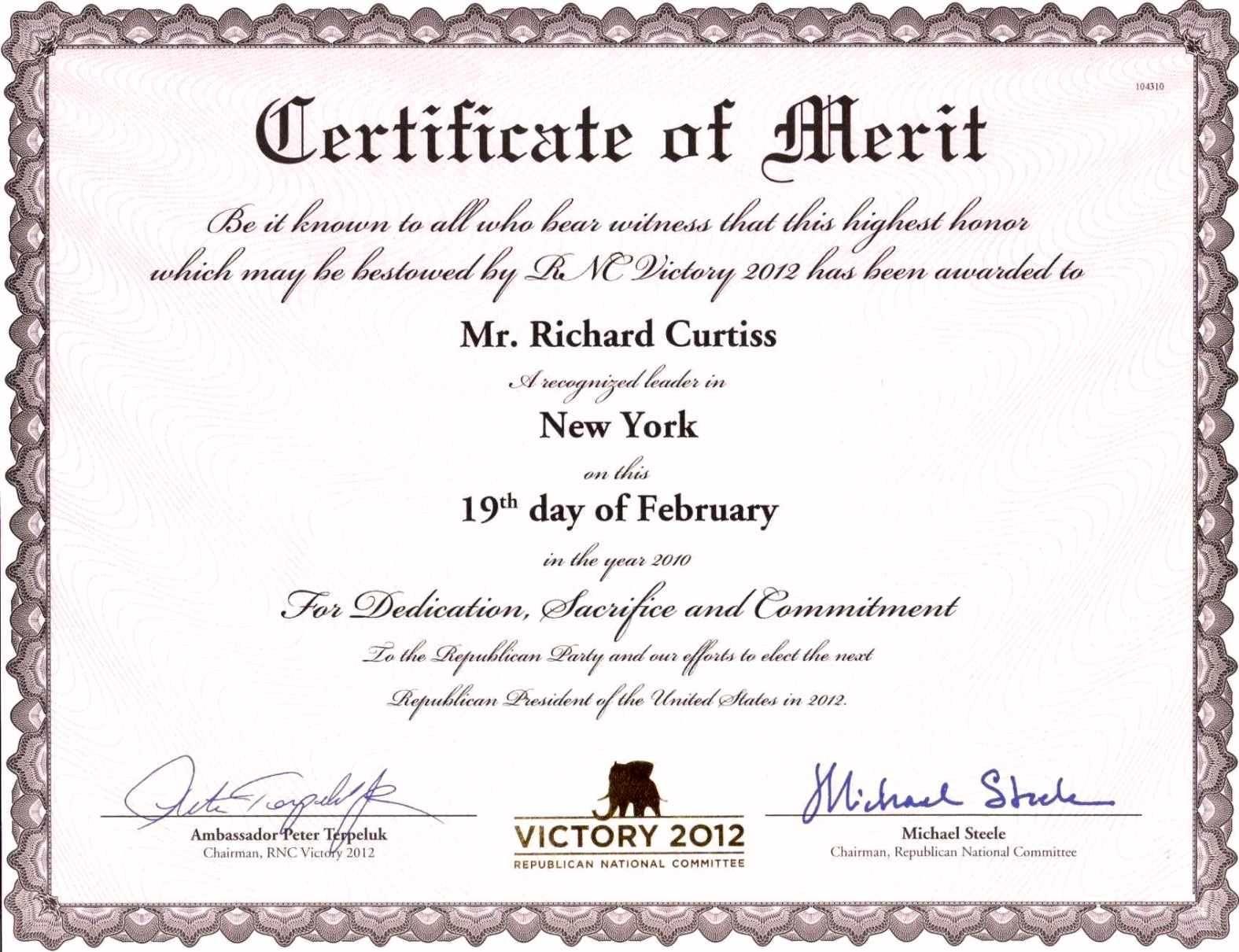 Certificate Of Merit Template | Certificate234 | certificate ...