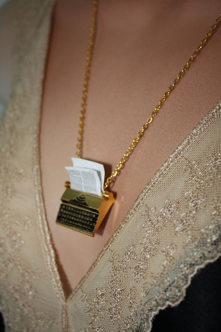 The Writer - Gold Plated Typewriter Necklace. $24.00, via Etsy.