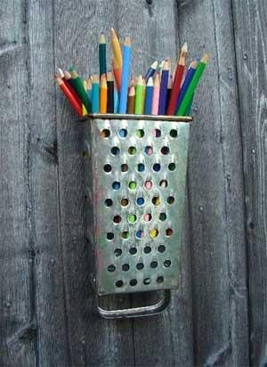 Cheese grater turned pencil holder! #upcycle