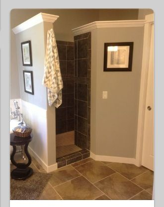 Walk In Shower Has A Wrap Around Entry That Offer Privacy But