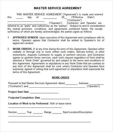 Example Master Service Agreement , Basics to Make Your Own Service