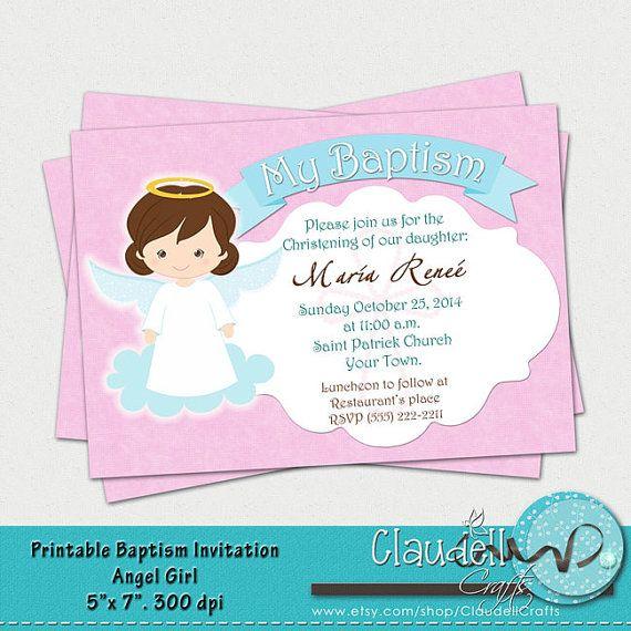 Baptism Angel Girl Printable Invitation Card By