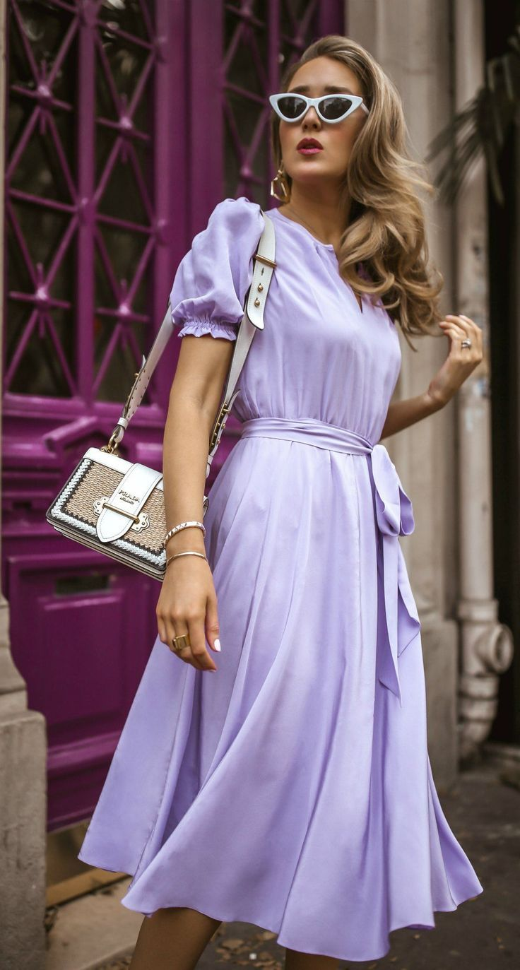 Click For Outfit Details Lilac Puff Sleeve Silk Tie Waist Dress And Circle Skirt Classic Parisian Style Retro Cat Lavender Outfit Tie Waist Dress Dresses [ 1373 x 736 Pixel ]