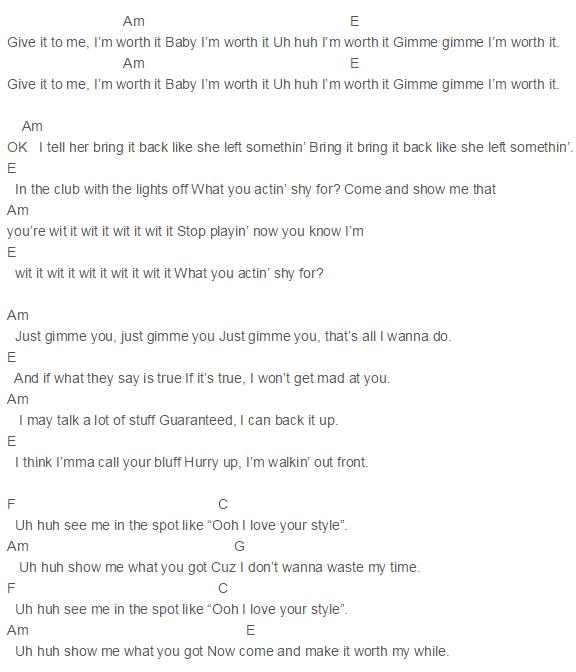 Capo 3 Worth It Chords Fifth Harmony Kid Ink Guitar Pinterest