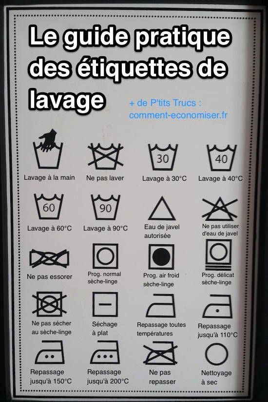 tiquettes de lavage enfin un guide pour comprendre leurs significations pinterest. Black Bedroom Furniture Sets. Home Design Ideas