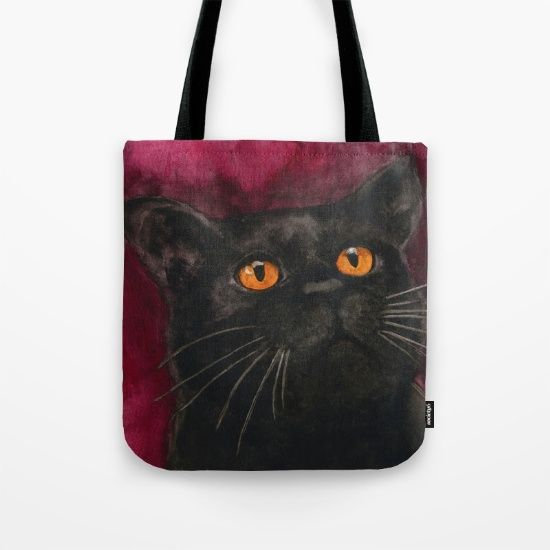 fde7e408dbcb Watercolor Cat 10 Black Cat Tote Bag