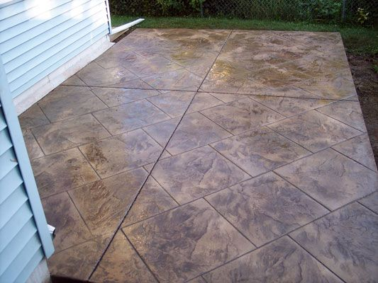 Stamped Patio 24 X 24 Italian Slate Tile Stamped Patio Sandstone Base Color Walnut Release Stamped Concrete Patio Concrete Patio Stamped Concrete