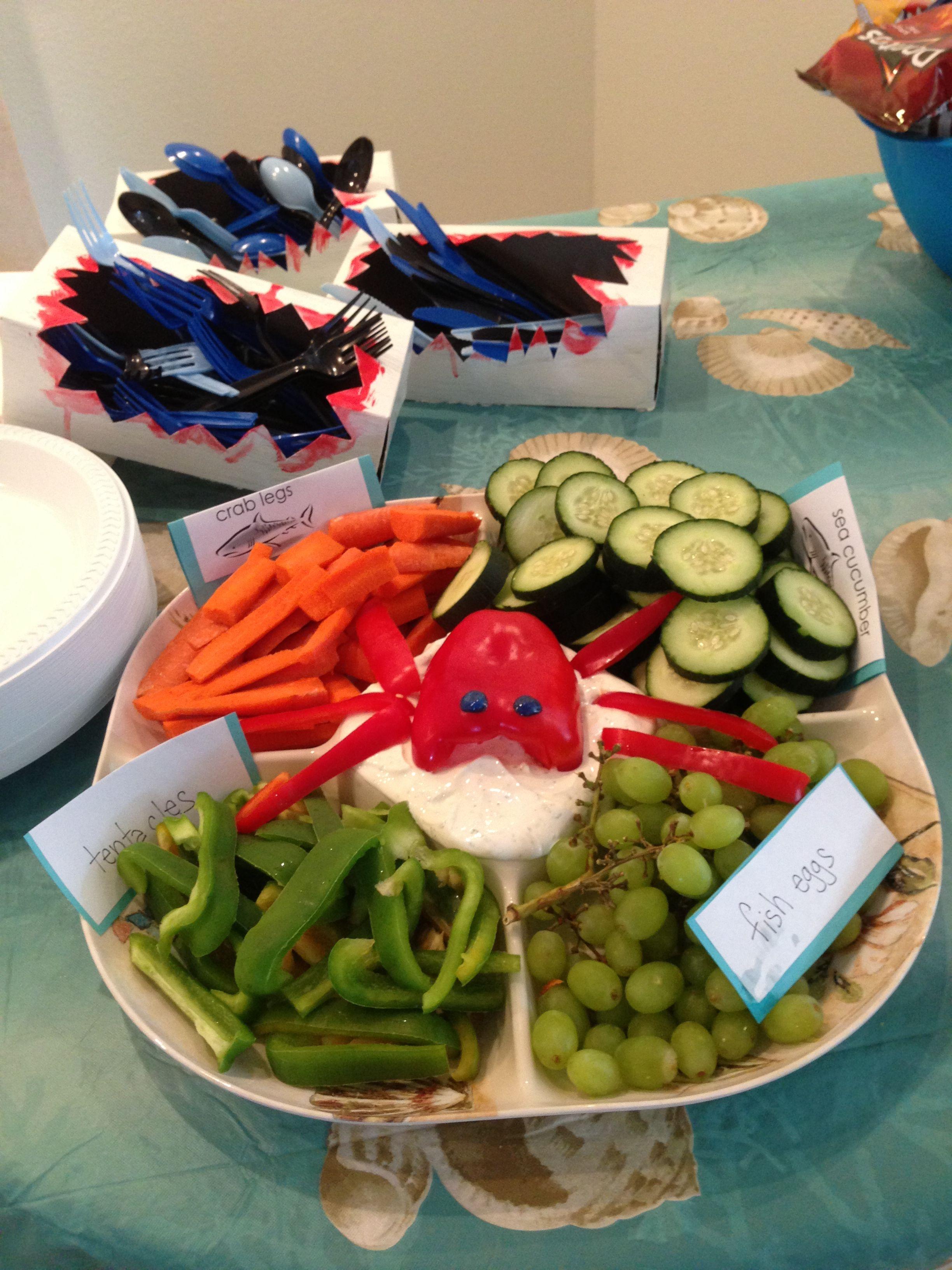 1st Birthday Beach Party Pool Bash Toddler Theme Shark Decorations Fun Food Veggie Tray
