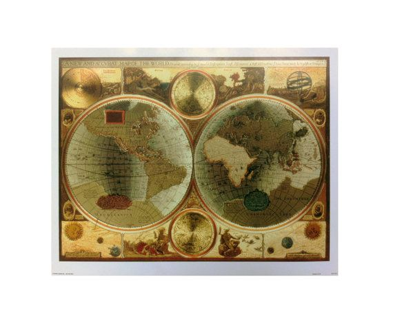 a new and accvrat map of the world vintage wall decor brown framed picture ar