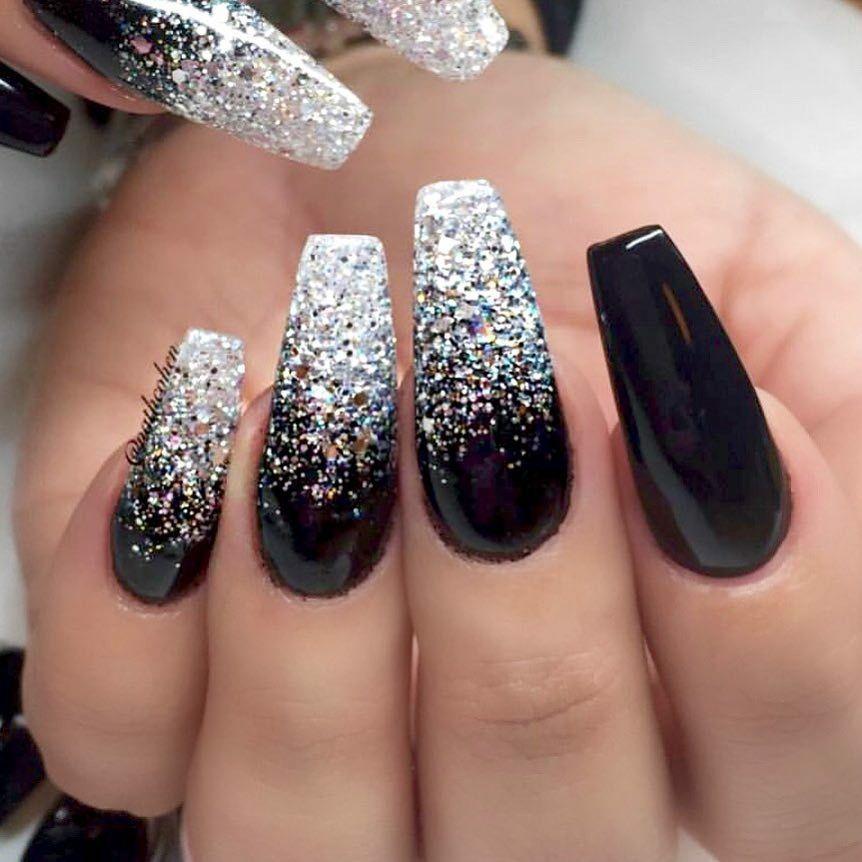 Ombre Black And Silver Glitter Nails Silver Glitter Nails Ombre Nails Glitter Glitter Nails Acrylic