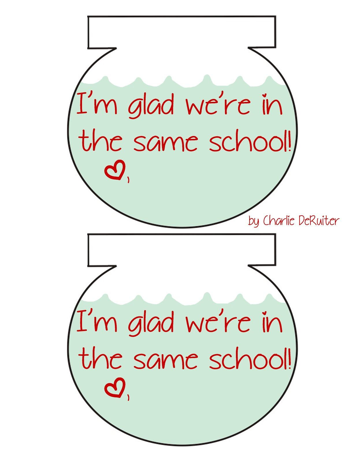 School Of Fish Valentines Free Printable By Charlie Deruiter