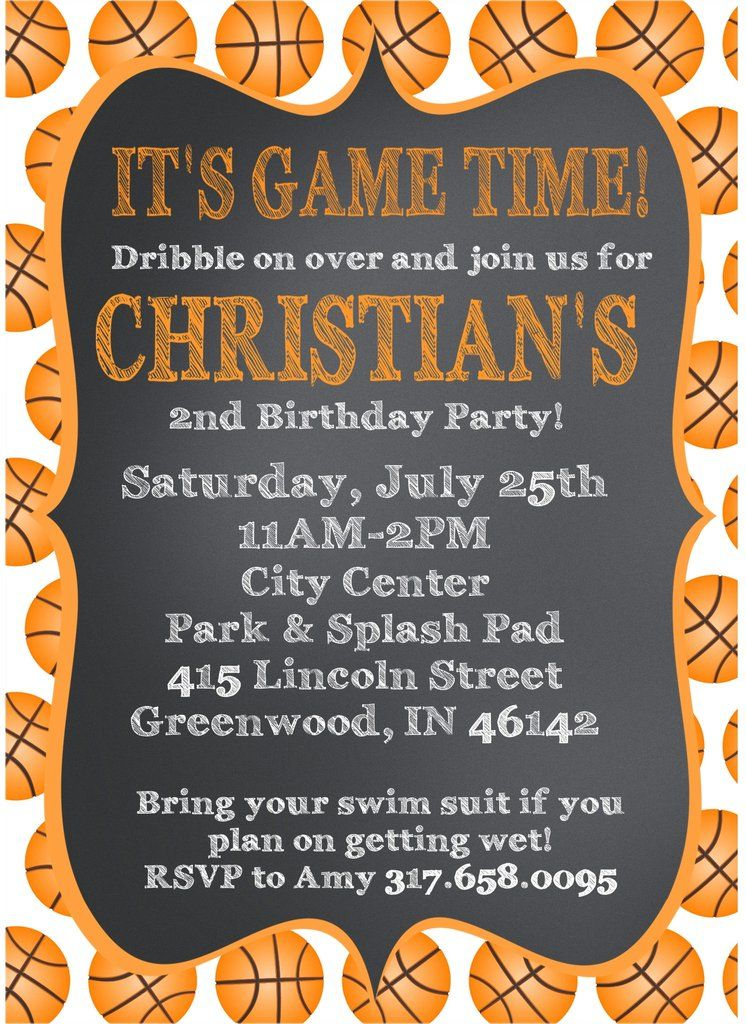 Basketball Birthday Party Invitations Basketball birthday parties