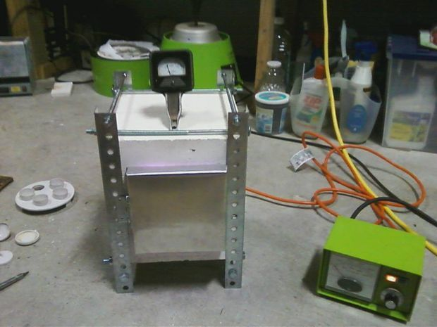 Homemade Electric Kiln for ceramics, metal annealing, glass enameling, and melting precious metals etc. He built one for about $120 (not including the power controller and pyrometer).