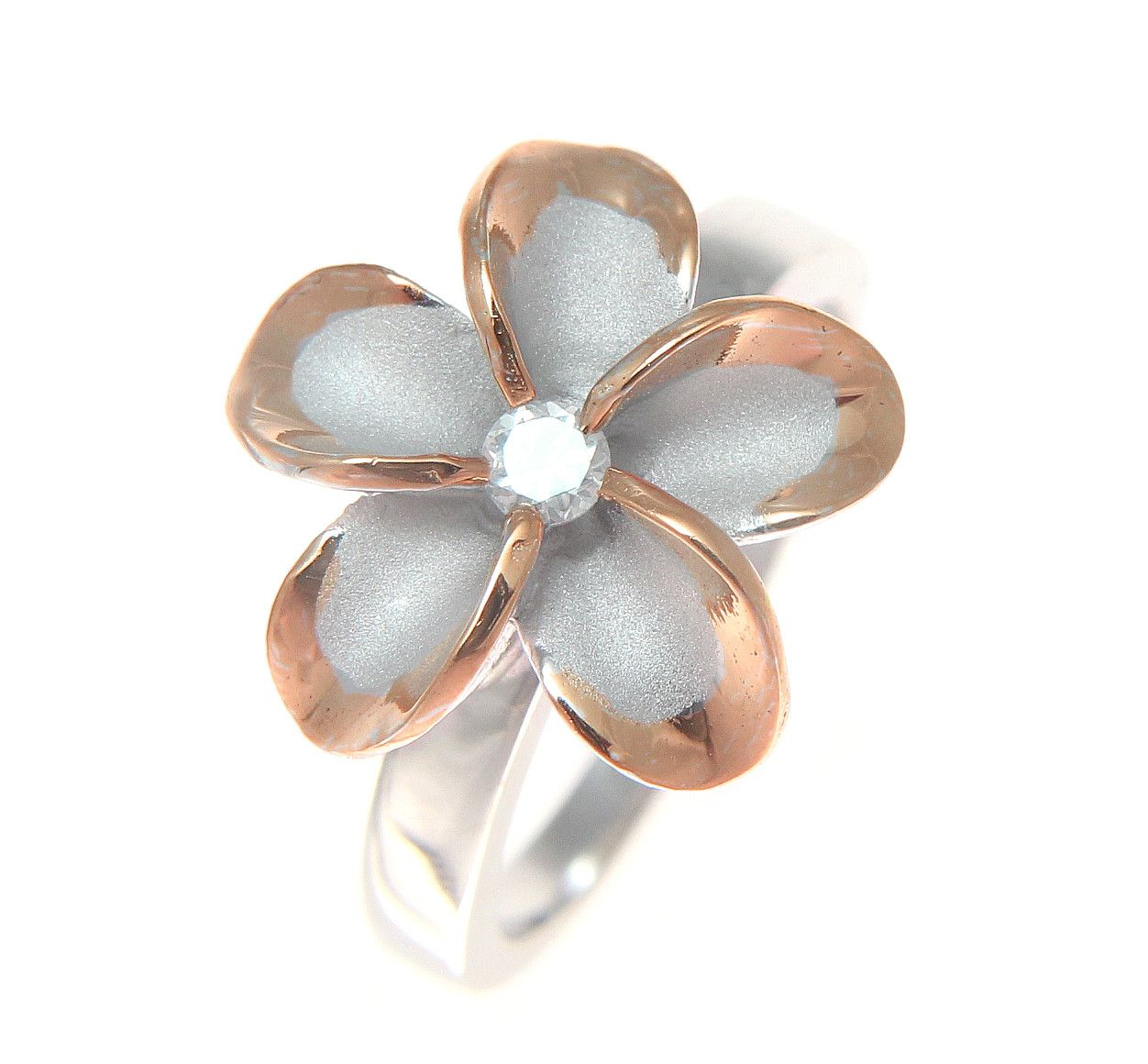 Silver 925 hawaiian plumeria flower ring 15mm cz rhodium pink rose brand new solid 925 sterling silver hawaiian single plumeria flower ring flower size 15mm approx 916 weight approx 3 grams izmirmasajfo