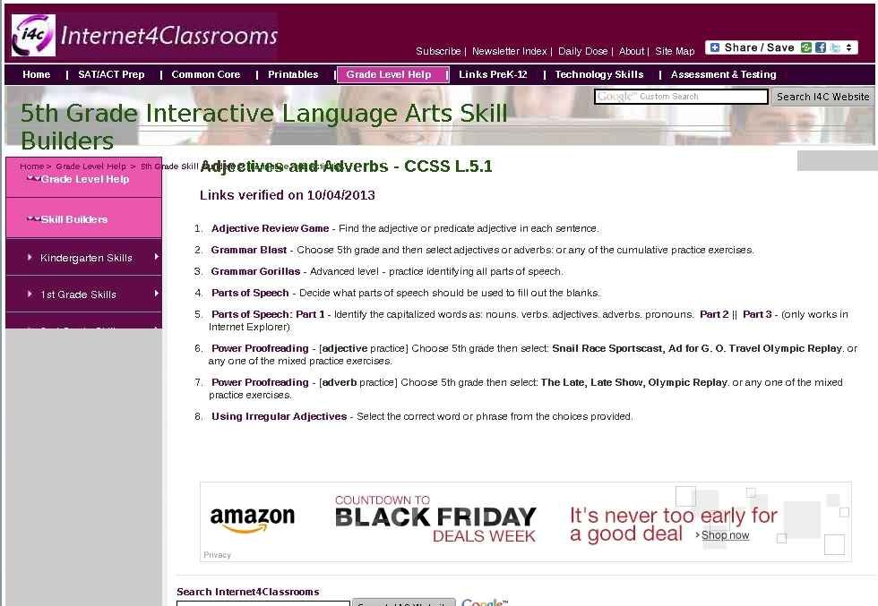 Fifth grade language skill builders adjectives and