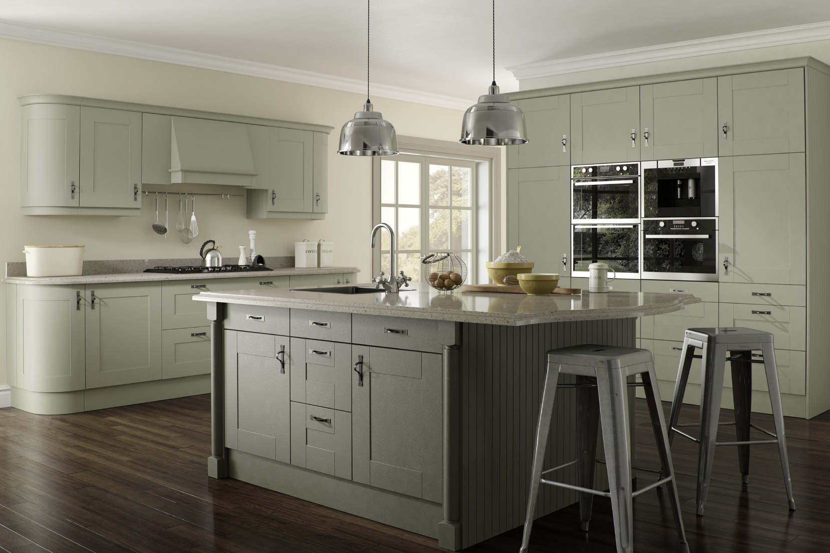 olive grey and cream kitchen Google Search Green