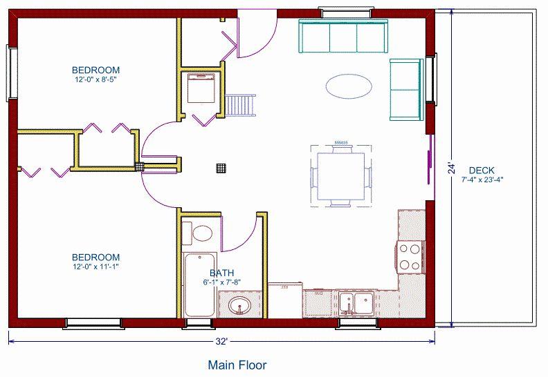 16 X 24 House Plans New Log Cottage Floor Plan 24 X32 768 Square Feet In 2020 Cabin Floor Plans Cottage Floor Plans Loft Floor Plans
