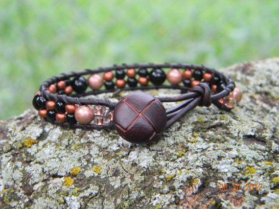 Bohemian Copperhead beaded leather wrap bracelet by Aerieanna, $24.00