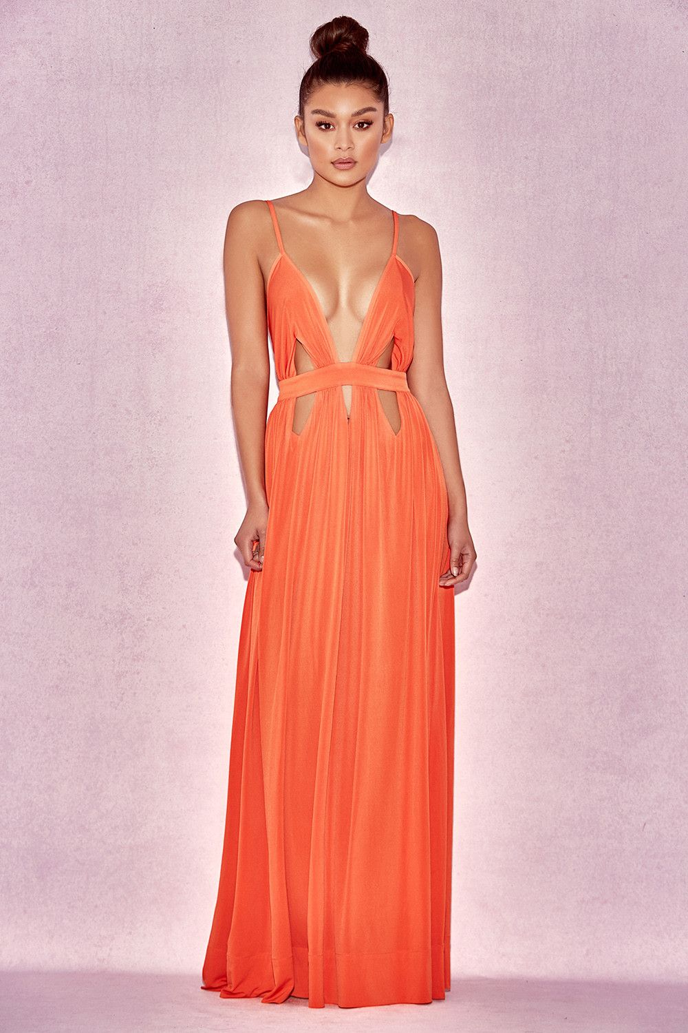 Sexy orange dresses for evening wear for less