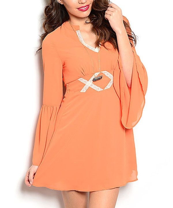 Look at this Tangerine Lace-Accent Bell-Sleeve Dress on #zulily today!