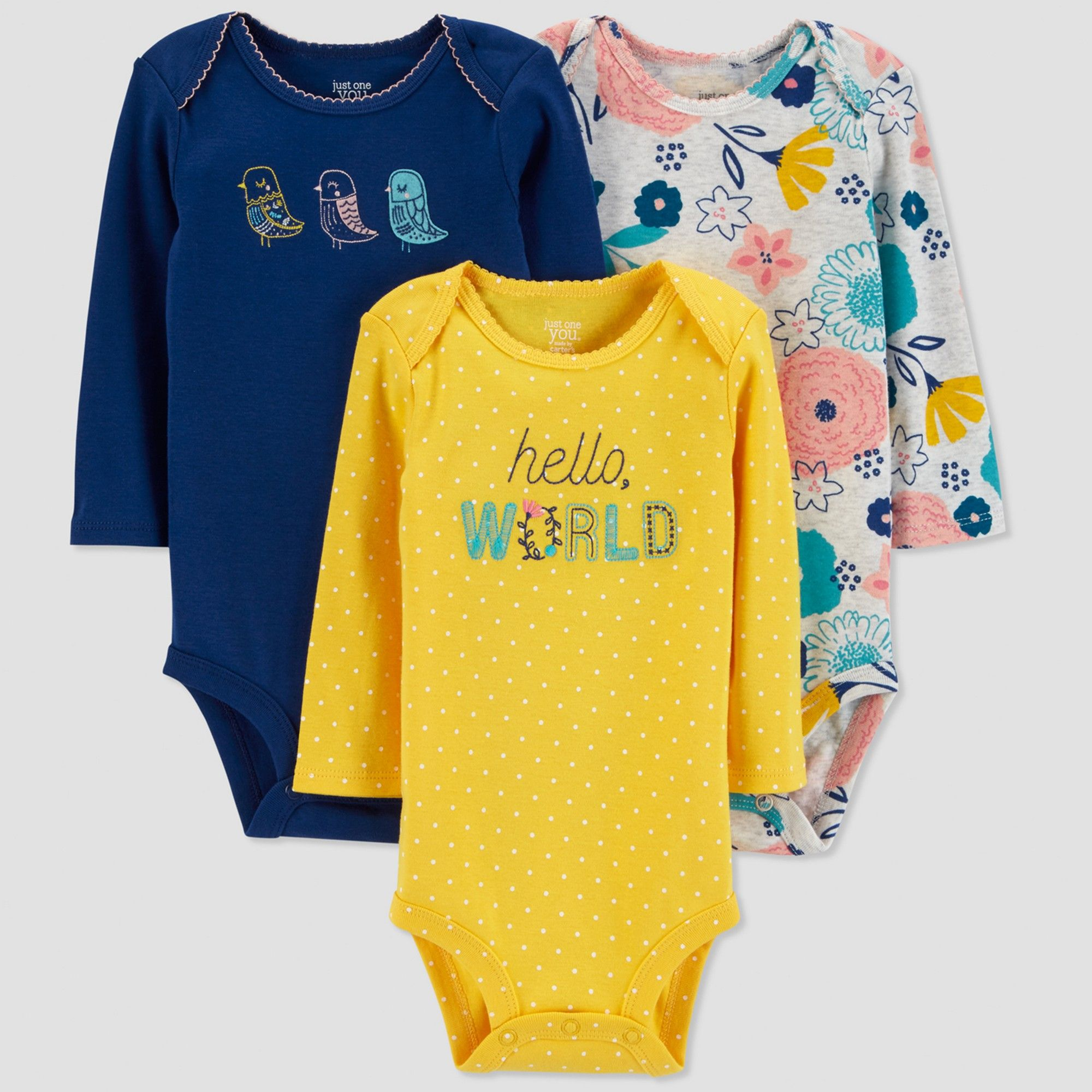 6d93b599c Baby Girls' 3pk Hello World Bodysuit - Just One You made by carter's  Yellow/Blue 9M