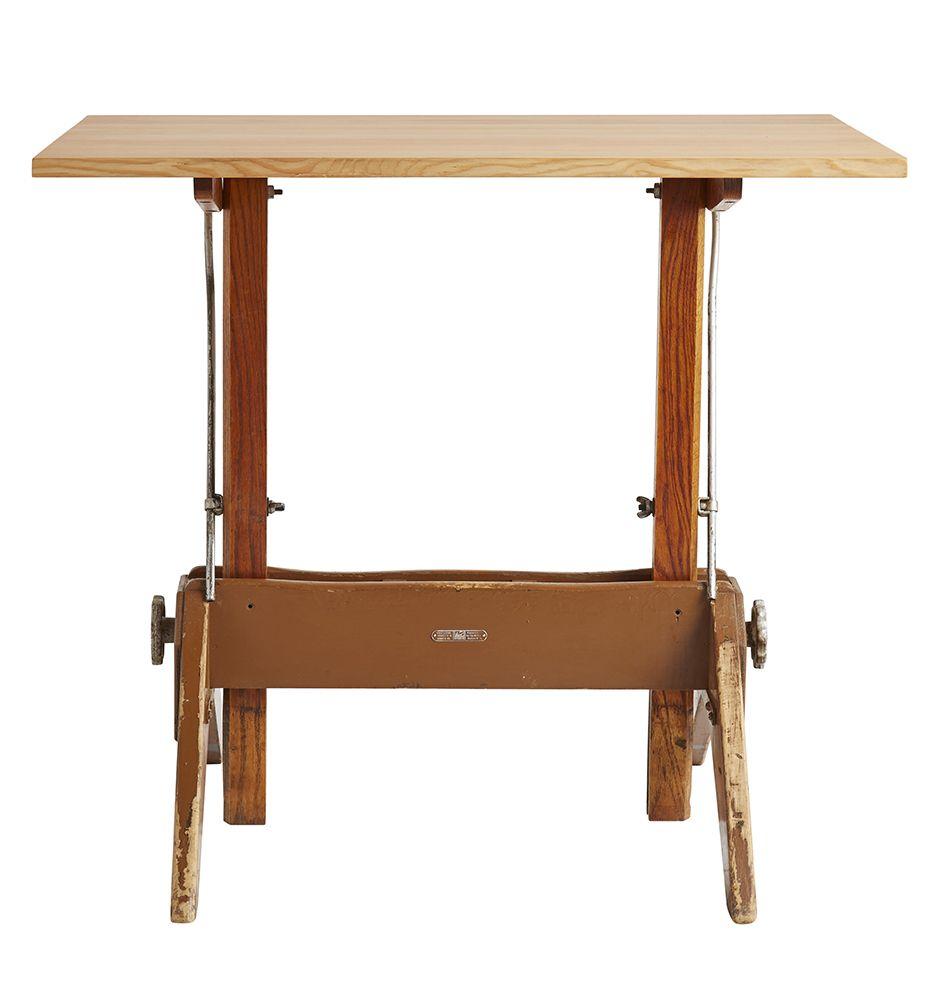 Modern Drafting Table w/ Oak Trestle Base by Mayline ...