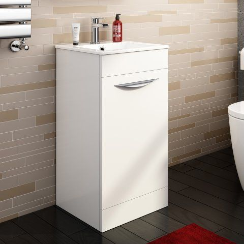 400mm Severn High Gloss White Cloakroom Basin Cabinet Floor Pt Mv832 89 99 Platinum Taps Amp Bathrooms Basin Cabinet Cloakroom Basin White Floors