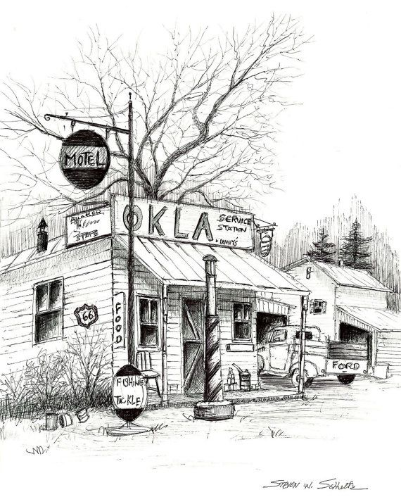 Old Gas Station Drawing Service Station...