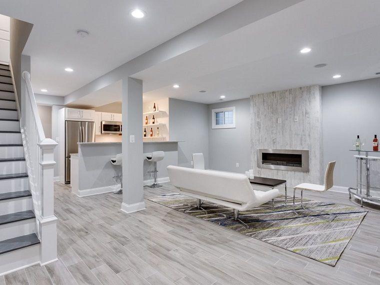 Taverna moderna arredamento total white furniture floor decor and