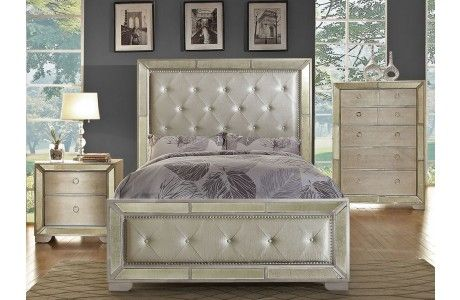 Ailey Bedroom Furniture With Mirrored Accents   Bedroom Furniture ...