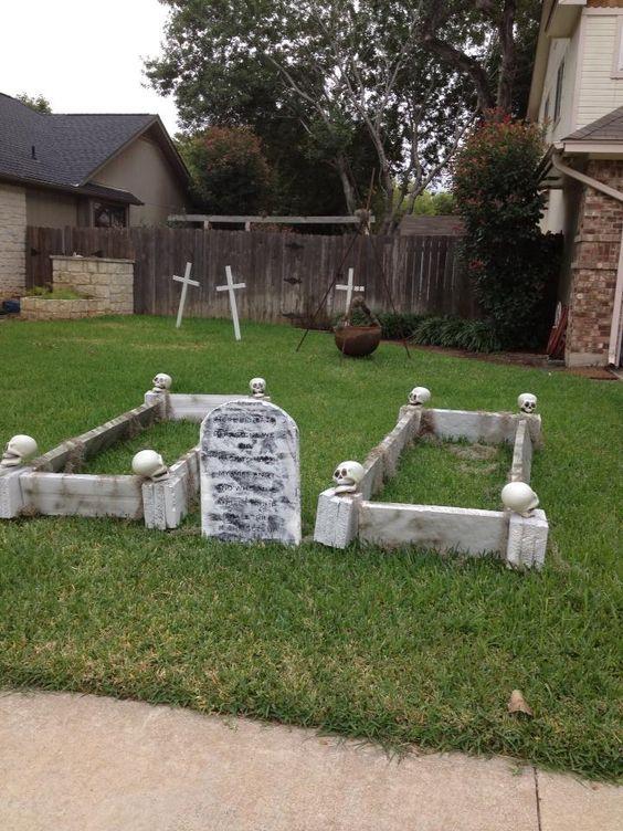 framed grave 21 Easy DIY Outdoor Halloween Decorating Ideas that - outdoor halloween decoration ideas diy