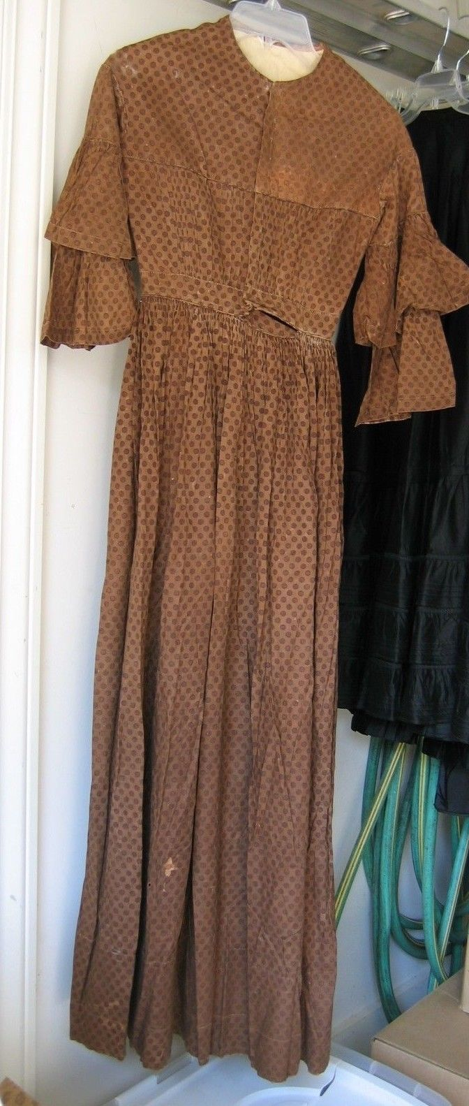Civil War Pioneer Calico Cotton Prairie Dress 1800 S True Vintage All Hand Sewn In Clothing Shoes Accessories Women