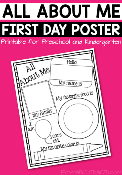 graphic regarding Free Printable All About Me Poster identify All Above Me Poster Cost-free  Daycare Plans