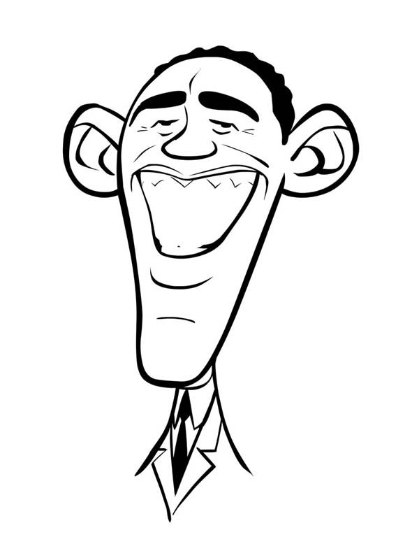 Caricature of Barack Obama Coloring Page | ТРАФАРЕТЫ | Pinterest