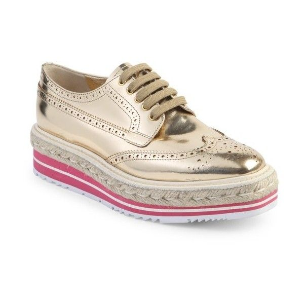 Prada Metallic Leather Brogue Platform Oxfords ($950) ❤ liked on Polyvore  featuring shoes,