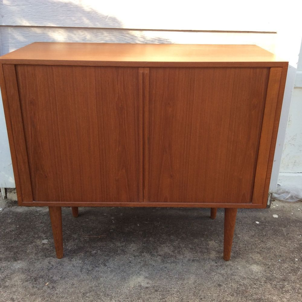 1960s Record Cabinet Record Cabinet Sideboard Kai Kristiansen Teak Tambour Doors Danish