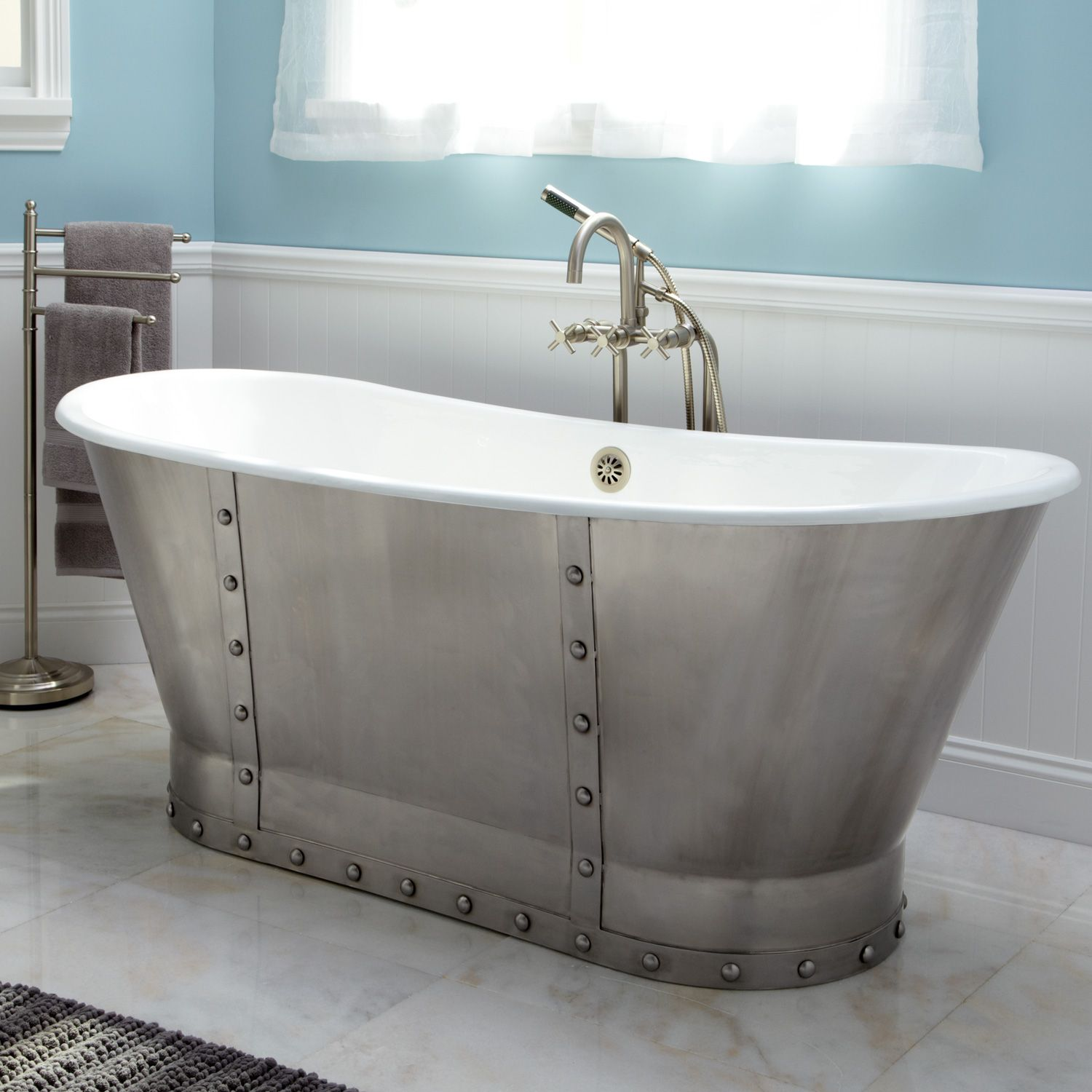 Stainless steel bathtubs bateau tub with riveted stainless steel skirt signature hardware