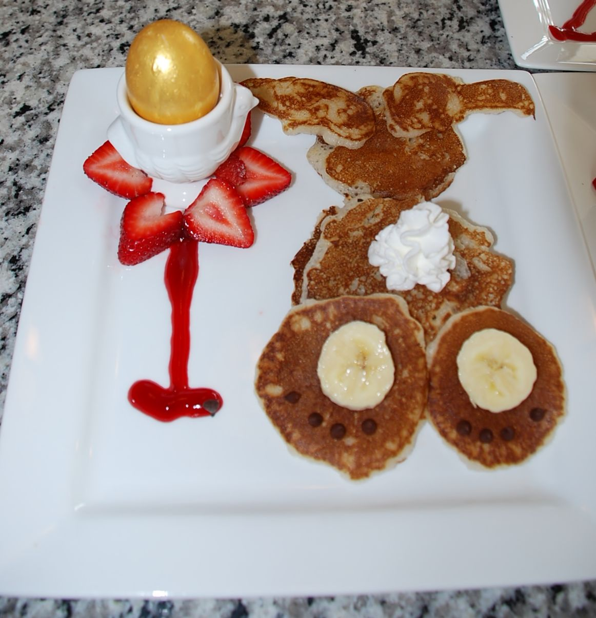 Easter breakfast bunny pancake with hard boiled egg dyed in food bunny pancake with hard boiled egg dyed in food safe gold paint in ccuart Gallery