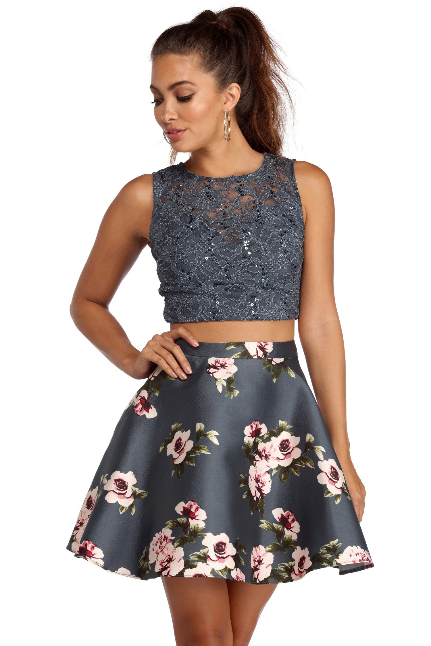 Rosie Floral Two Piece Dress Two Piece Homecoming Dress Pretty Dresses For Teens Semi Formal Dresses For Teens [ 2247 x 1500 Pixel ]