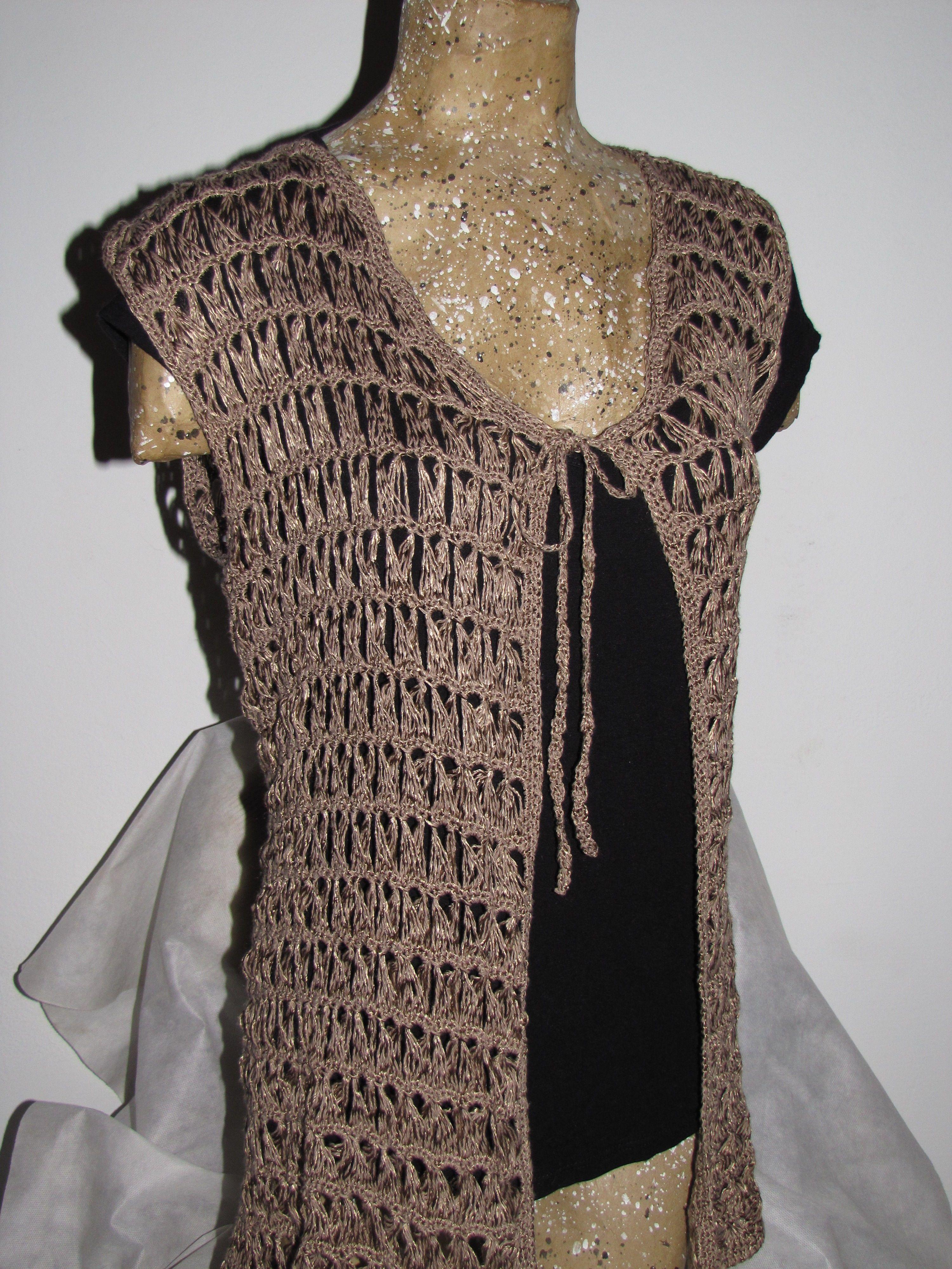 Chaleco delicado por el encaje con palo de escoba. Broomstick lace ...