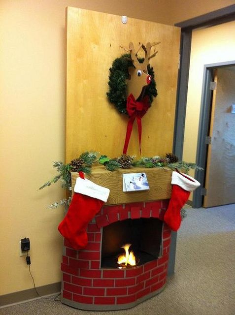 Christmas Door Decorating Contest Cardboard Fireplace And Deer